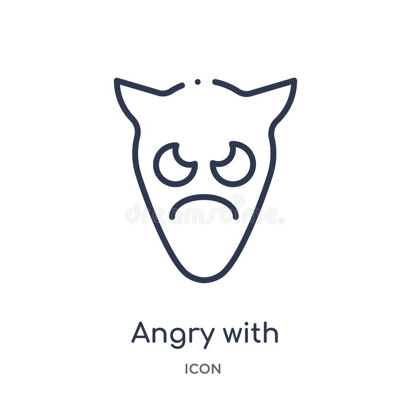 Enojado linear con el icono del emoji de los cuernos de la colección del esquema de Emoji Línea fina enojada con el vector del em stock de ilustración