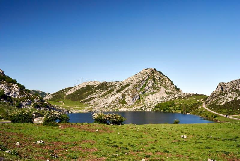 Enol lake. Covagonga, Asturias, Spain royalty free stock image