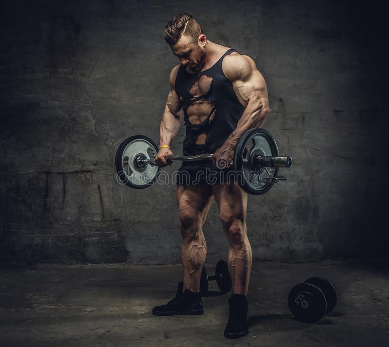 Enorm bodybulder som gör bicepsgenomkörare med skivstången royaltyfri foto