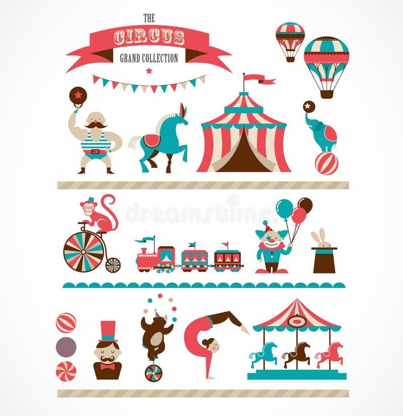 Enorm cirkussamling för tappning med karnevalet, gyckel stock illustrationer