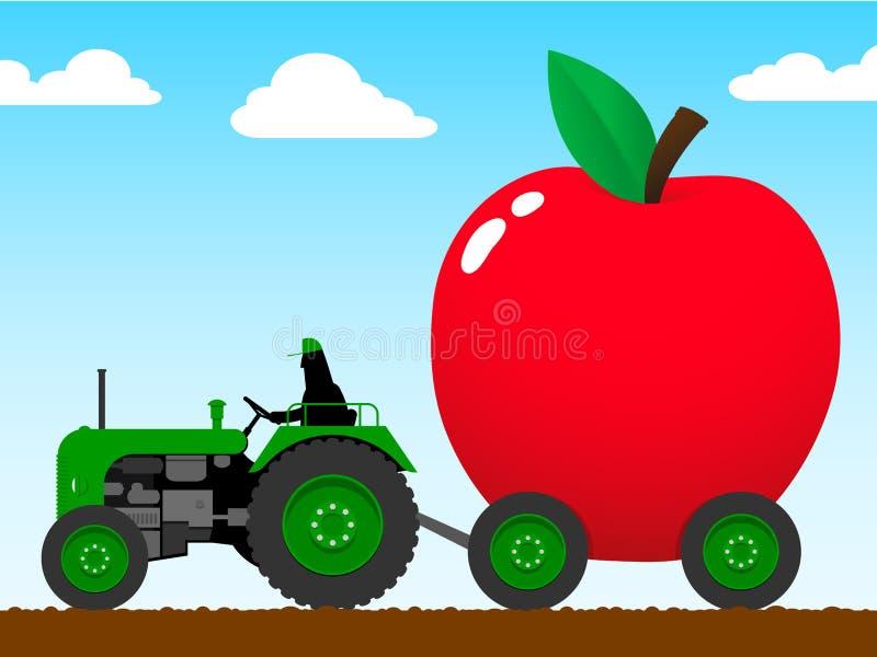 enorm dragande traktor för äpple stock illustrationer
