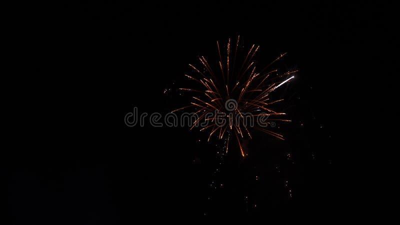 Enorm fyrverkeriexplosion i natthimlen royaltyfria bilder