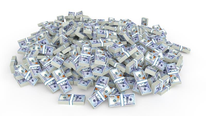 Enorm hög av kontanta dollar stock illustrationer