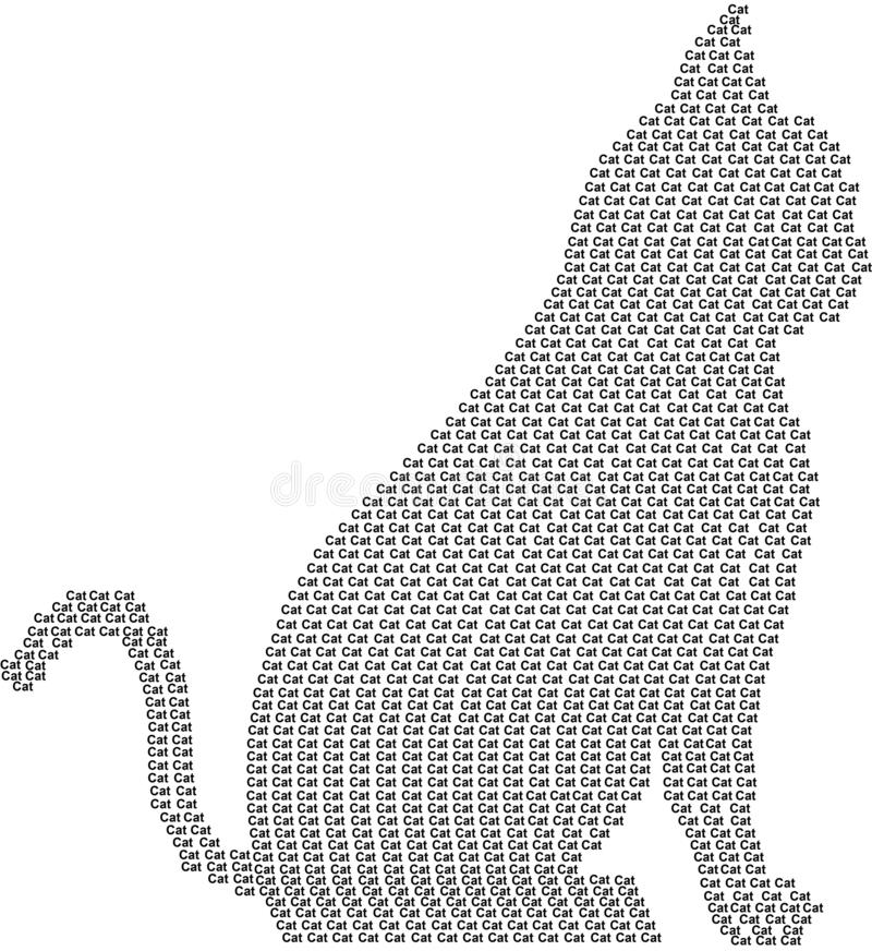 Enorm katt Kattdesign i ord svart f?rg stock illustrationer