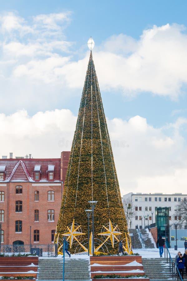 Enorm ljus julgran i centrum av Gdansk royaltyfri fotografi