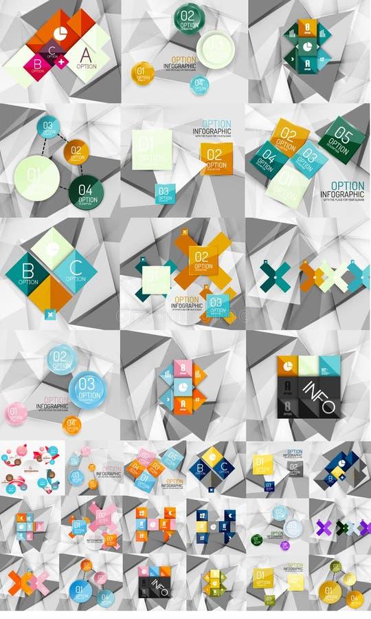 Enorm mega samling av abstrakt geometriskt papper stock illustrationer