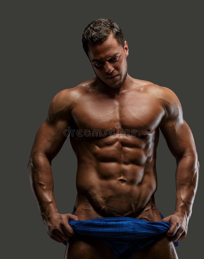 Enorm muskulös guyongrå färgbakgrund arkivbild