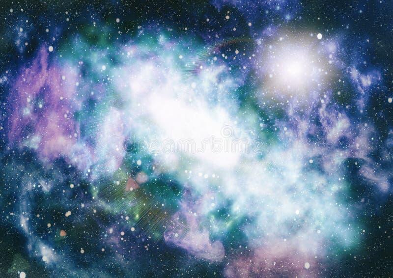 Enorm nebulosa i djupt utrymme Galax och nebula abstrakt bakgrundsavstånd stock illustrationer