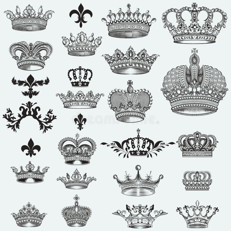 Enorm samling av vektorkronor för design royaltyfri illustrationer