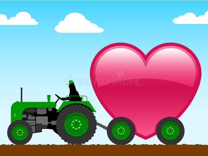 enorm traktor för hjärta royaltyfri illustrationer
