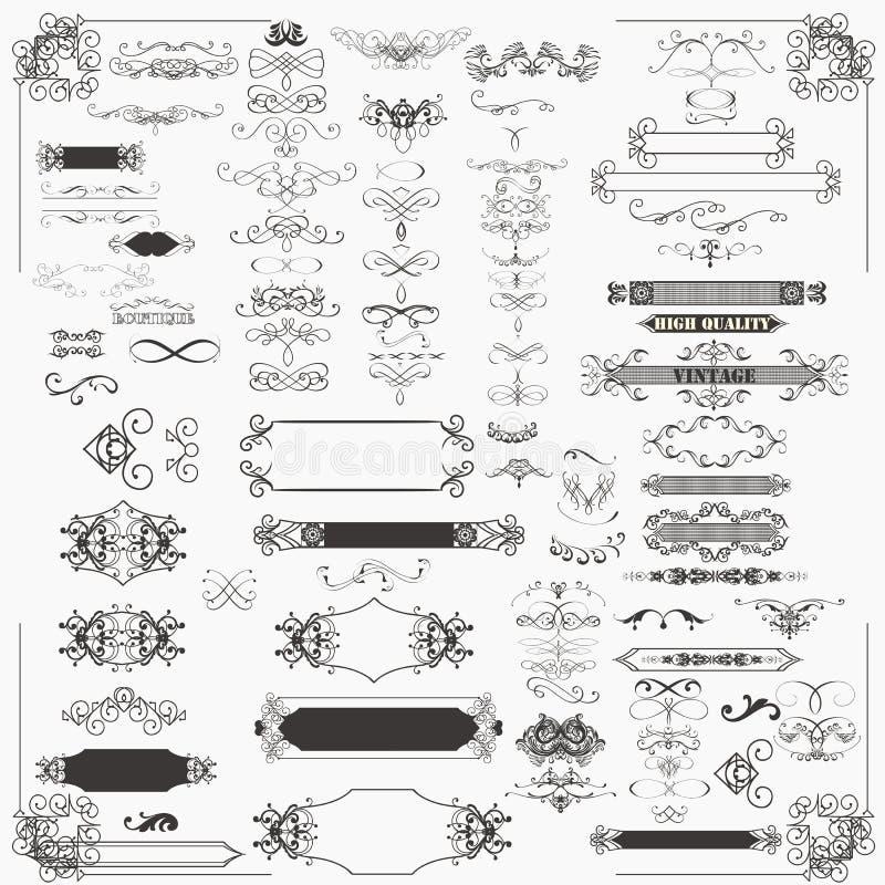 Enorm uppsättning av dekorativa ram och krusidullar för vektor royaltyfri illustrationer
