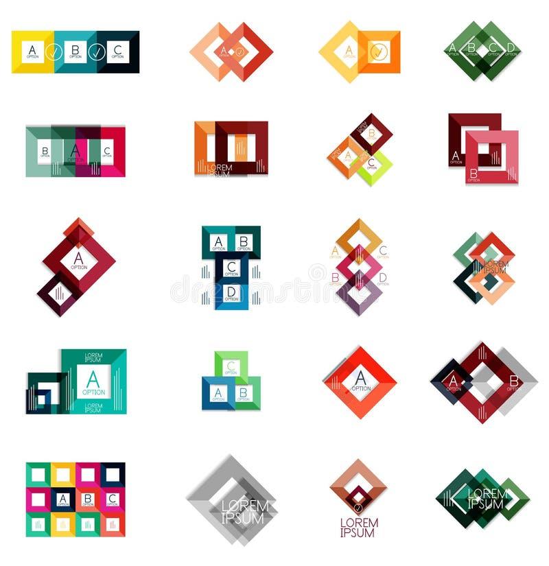 Enorm uppsättning av fyrkantiga infographic mallar #2 vektor illustrationer