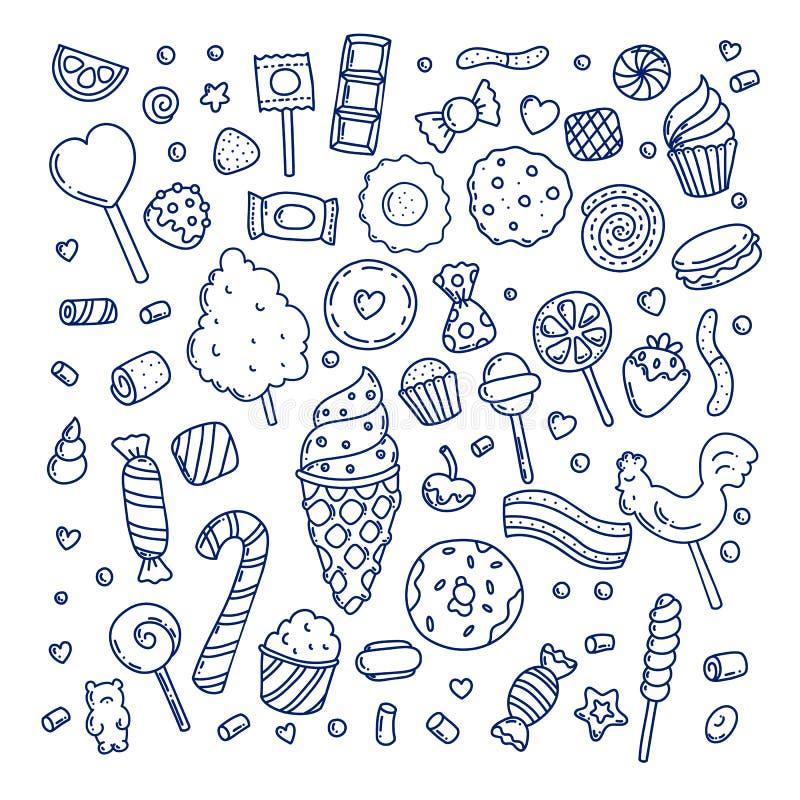 Enorm uppsättning av godisar och sötsaker för tecknad filmklotterform vektor illustrationer