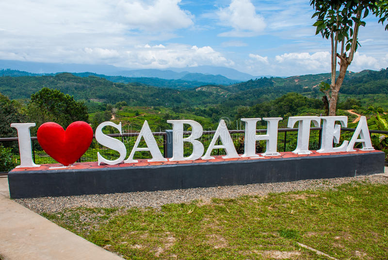 Enorm vit bokstäver älskar jag Sabah te Borneo Malaysia fotografering för bildbyråer