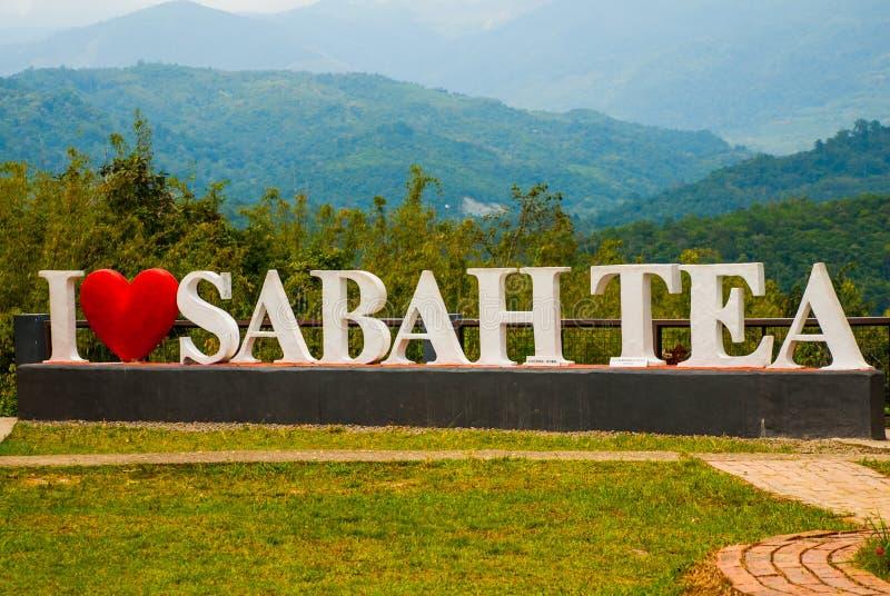 Enorm vit bokstäver älskar jag Sabah te Borneo Malaysia arkivbild