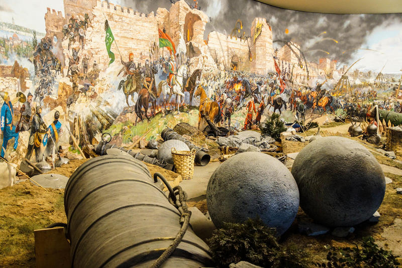 Enorme Belagerungskanone benutzt im abschließenden Angriff stockfotografie