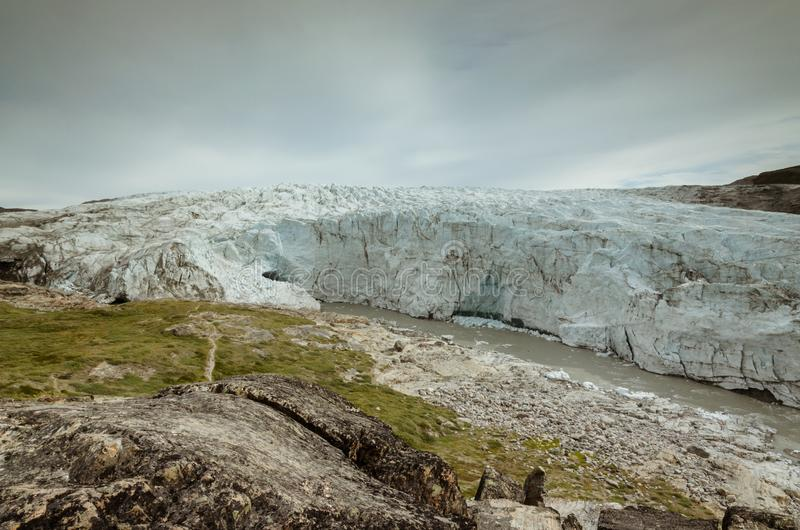 Enorme Front des Russell-Gletschers, Kangerlussuaq, Grönland stockbild