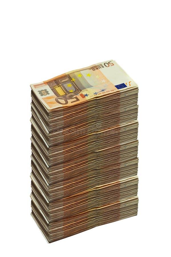 Enorme pegado de cincuenta billetes de banco euro imagen de archivo libre de regalías