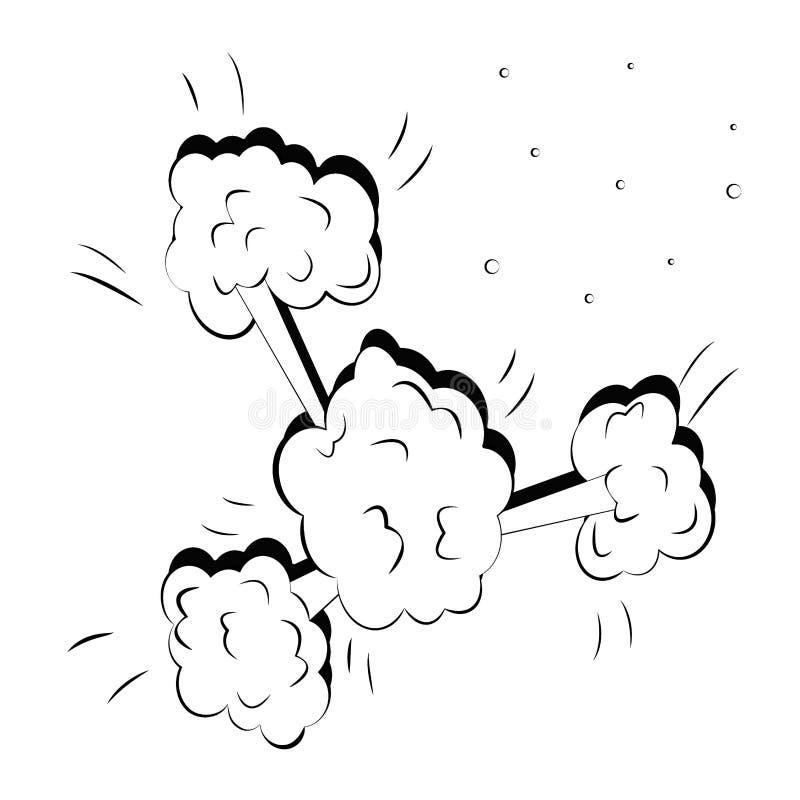 Enorme Pop-Arten-Explosion Komische Vektorillustration der Karikatur Big Bang stock abbildung