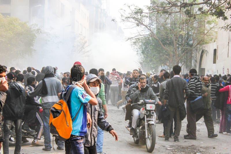 Enorme Revolution in Kairo, Ägypten stockbild