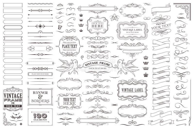 Enorme Sammlung oder Satz dekorative Elemente des Vektors für Entwurf stock abbildung