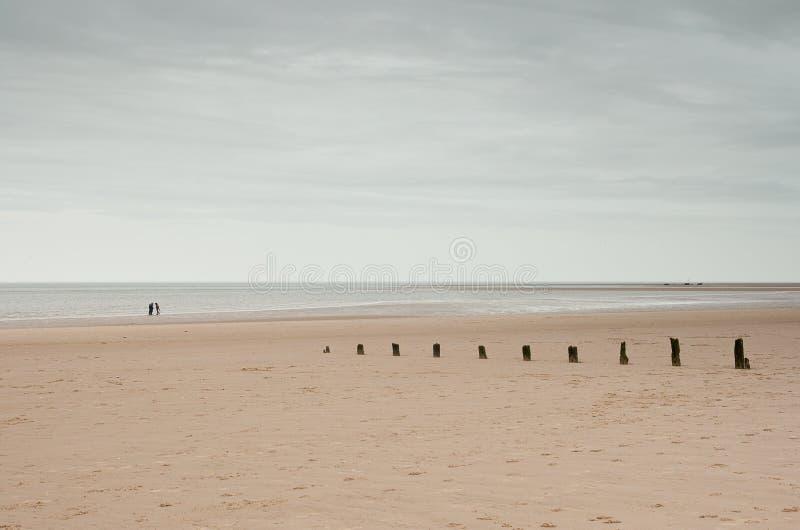 Enorme strand en horizon met golfbrekers, Norfolk, het UK royalty-vrije stock afbeeldingen