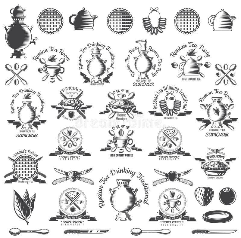 Enormer Satz des russischen Teetraditionslogos für Café, Teehaus, Teeparty, Bäckerei oder Geschäft Samowar, Teekanne, Schale und  stock abbildung
