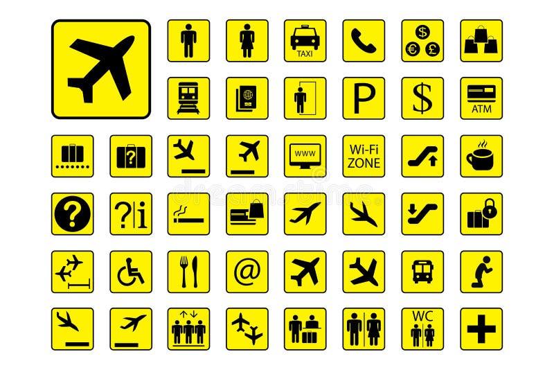 Enormer Satz Flughafen-Ikonen oder Zeichen vektor abbildung