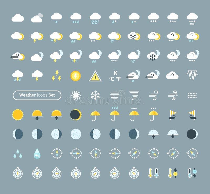 Enormer Satz Wetterikonen Wettervorhersagegestaltungselemente für mobile apps und Widgets vektor abbildung