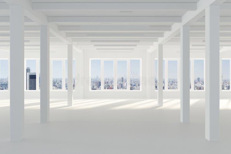 Enormer weißer leerer Raum mit großem Windows, welches die Metropole, die Spalten und die Strahlen in der Dachbodenart übersieht stock abbildung