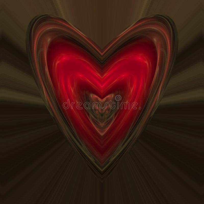 Enormes rotes Herz übertrug digital Fractalmuster stock abbildung