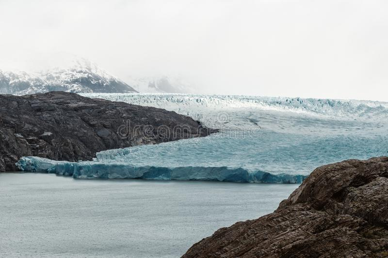 Glacier Grey Torres Del Paine National Park in Patagonia. The enormouns Glacier Grey floats in Lago Grey in Patagonia`s Torres Del Paine national park in Chile stock photos