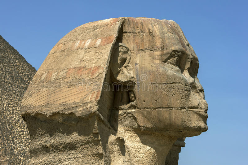 The enormous head of the Great Sphinx of Giza at Giza in Cairo, Egypt. stock image