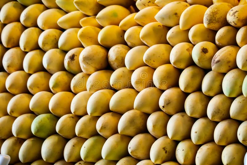enormt av mangobakgrund längs gatamat och ny frukt royaltyfri bild