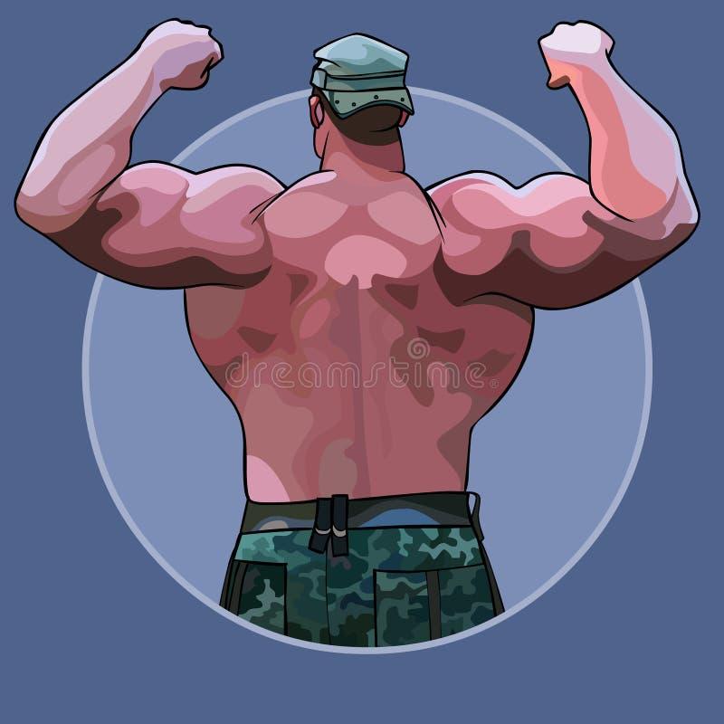 Enormt mananseende för tecknad film från baksidan i en kroppsbyggareställing vektor illustrationer