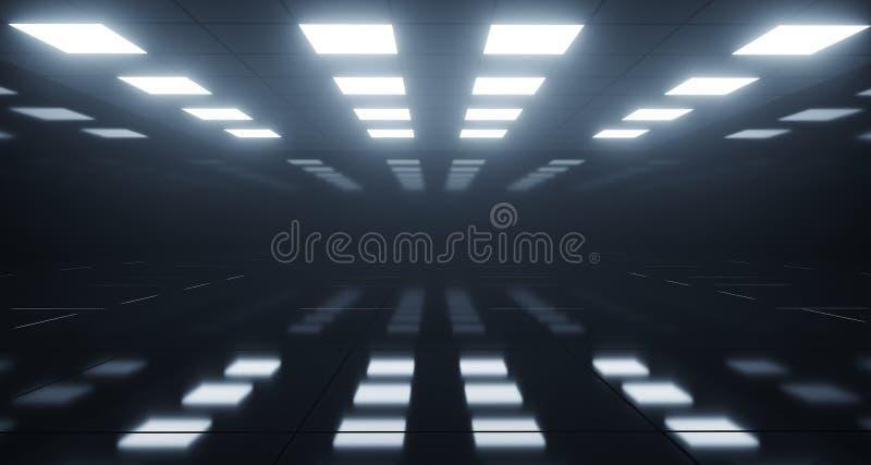 Enormt töm rum med fyrkantiga ljus på tak och reflekterande Flo royaltyfri illustrationer