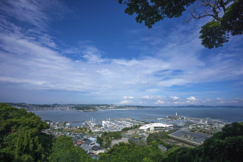 从Enoshima,日本的全景视图 库存照片