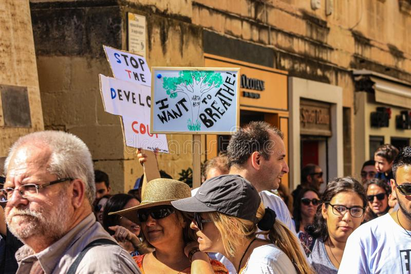 The Enough is enough protest Valletta, Malta. 7th Seprember 2019. stock photography