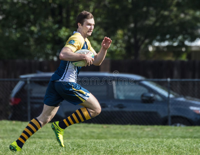 Enough Speed. Men`s rugby action in Redding, California royalty free stock photography