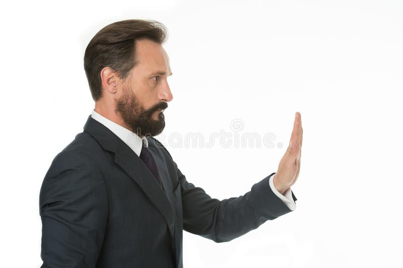 Enough tolerating unacceptable behavior. Hold on. Man shows hand palm gesture to stop isolated on white. Man bearded. Mature in formal wear. Businessman manager royalty free stock photo