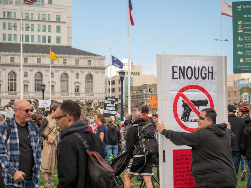 Enough violence sign at March of Our Lives rally in San Francisco royalty free stock image