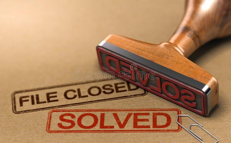 Enquête réussie, dossier fermé et cas résolus illustration stock