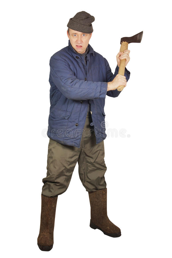 Enraged agressive man with an axe. Over white background stock image