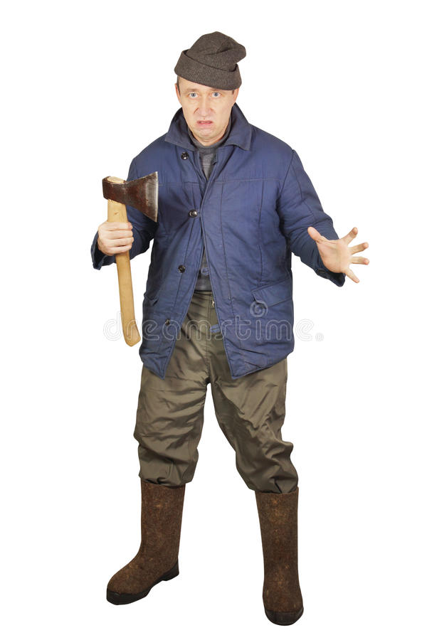 Enraged sloppy man with an axe. Over white background stock photography