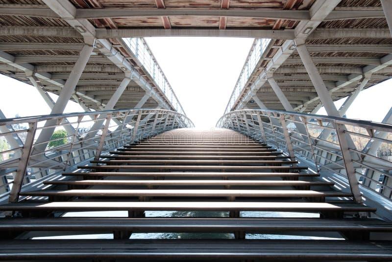 Enrance to the pedestrian bridge Passerelle Léopold-Sédar-Senghor via river Seine. stock photo
