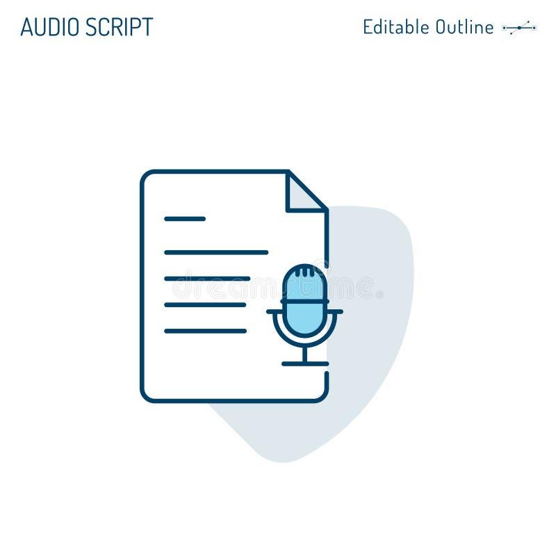 Enregistrement audio, icône, studio, enregistrement sonore, microphone, manuscrit de karaoke, microphone, textes icône, auteur de illustration stock