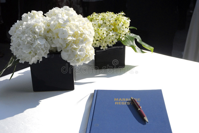 Enregistrement de mariage photo libre de droits
