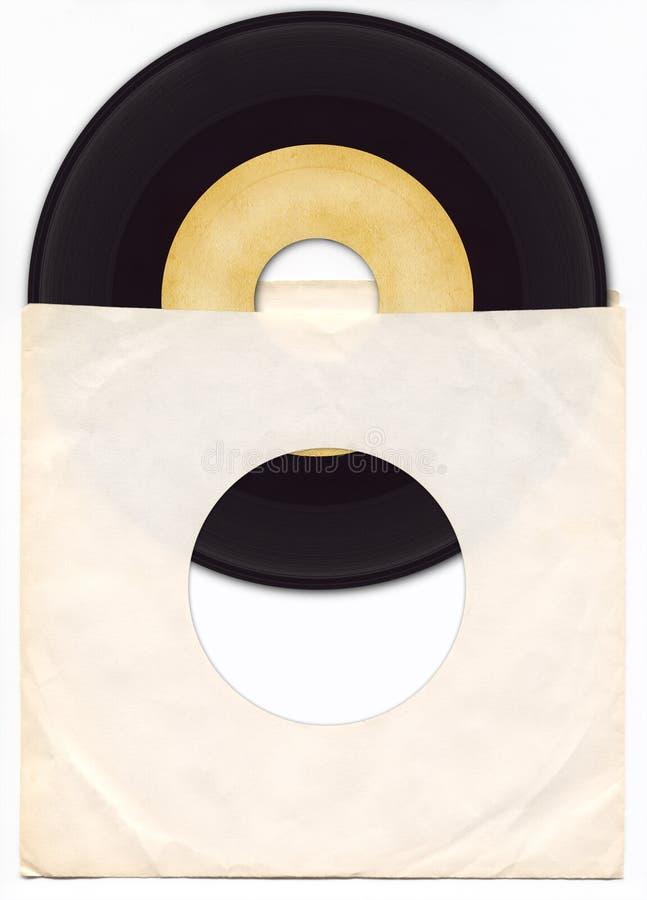 enregistrement de vinyle 45rpm avec la chemise photo libre de droits