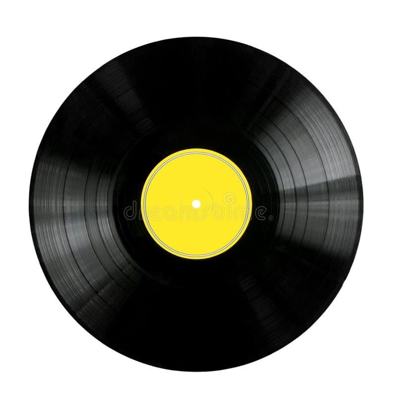 Enregistrement de vinyle avec l'étiquette jaune image stock