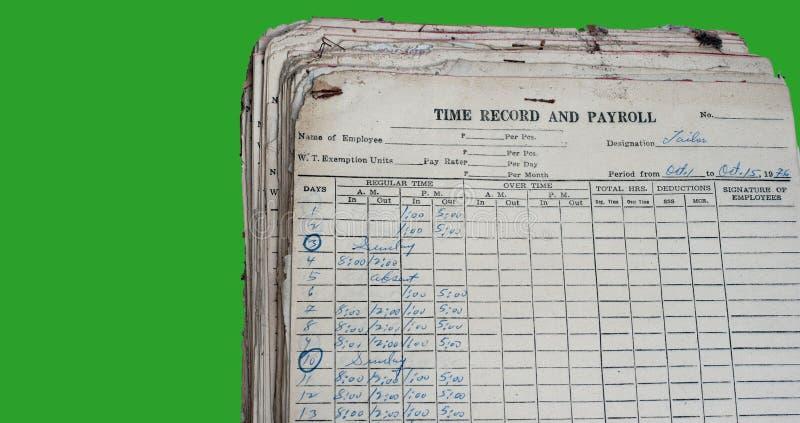Enregistrement et masse salariale anciens image libre de droits